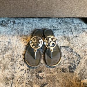 Tory Burch Silver Miller Sandals Size 8